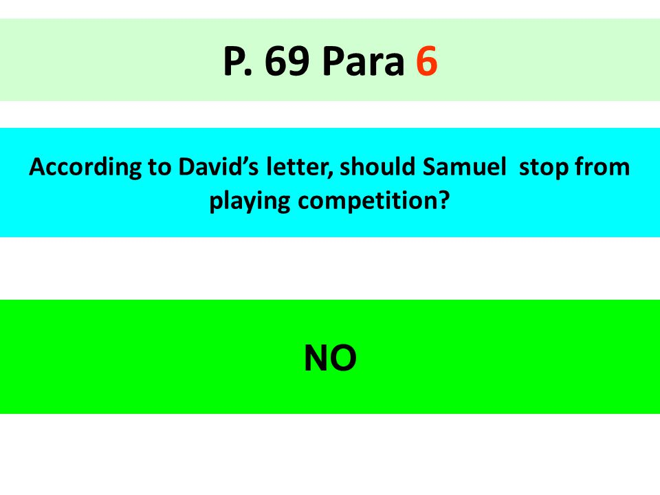 P. 69 Para 6 According to David's letter, should Samuel stop from playing competition NO