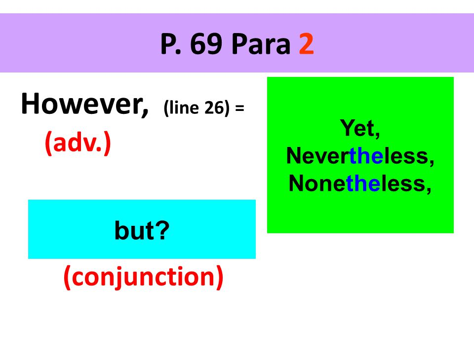 P. 69 Para 2 However, (line 26) = (adv.) Yet, Nevertheless, Nonetheless, but (conjunction)