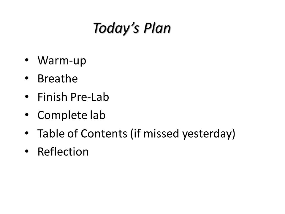 Today's Plan Warm-up Breathe Finish Pre-Lab Complete lab Table of Contents (if missed yesterday) Reflection
