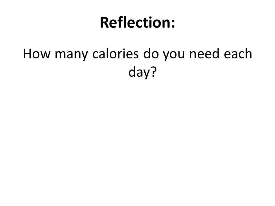 Reflection: How many calories do you need each day