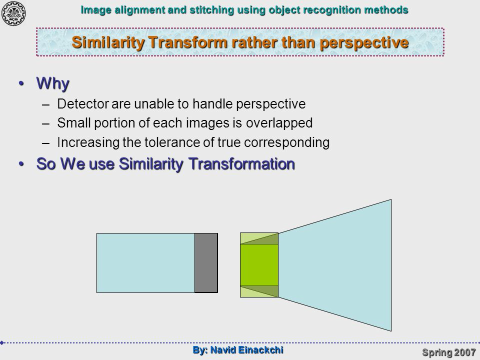 By: Navid Einackchi Spring 2007 Image alignment and stitching using object recognition methods Similarity Transform rather than perspective WhyWhy –Detector are unable to handle perspective –Small portion of each images is overlapped –Increasing the tolerance of true corresponding So We use Similarity TransformationSo We use Similarity Transformation