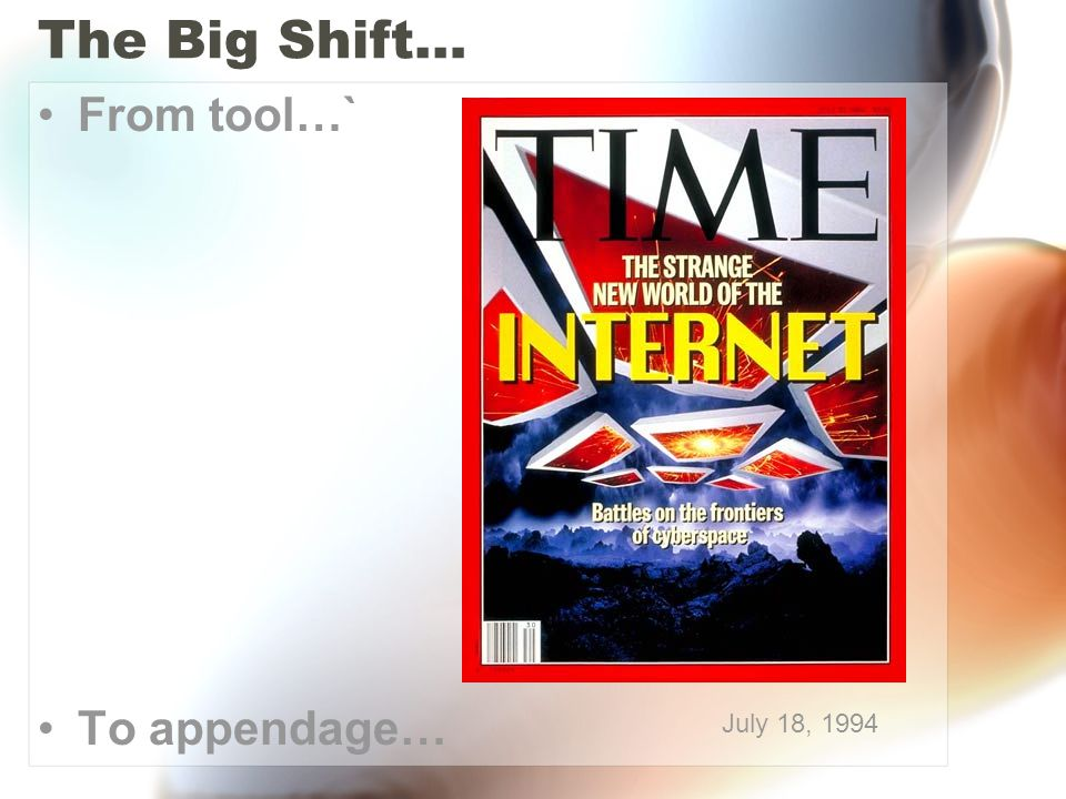 The Big Shift… From tool…` To appendage… July 18, 1994