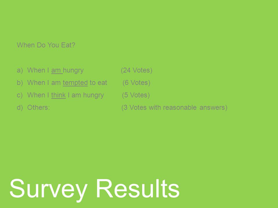 Survey Results When Do You Eat.