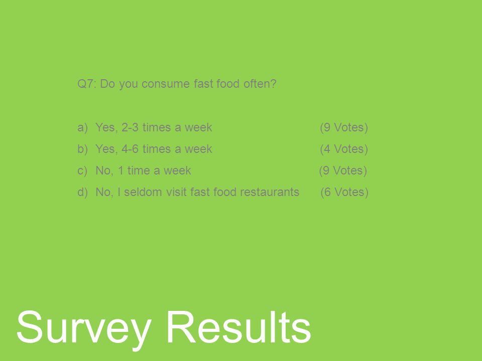 Survey Results Q7: Do you consume fast food often.