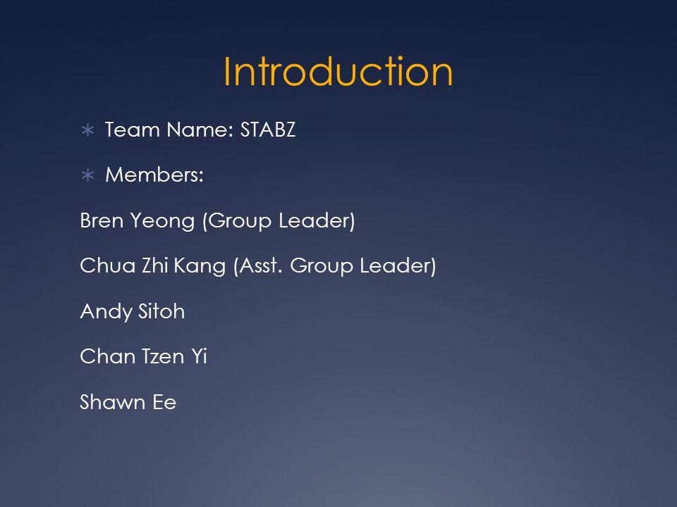 Introduction  Team Name: STABZ  Members: Bren Yeong (Group Leader) Chua Zhi Kang (Asst.