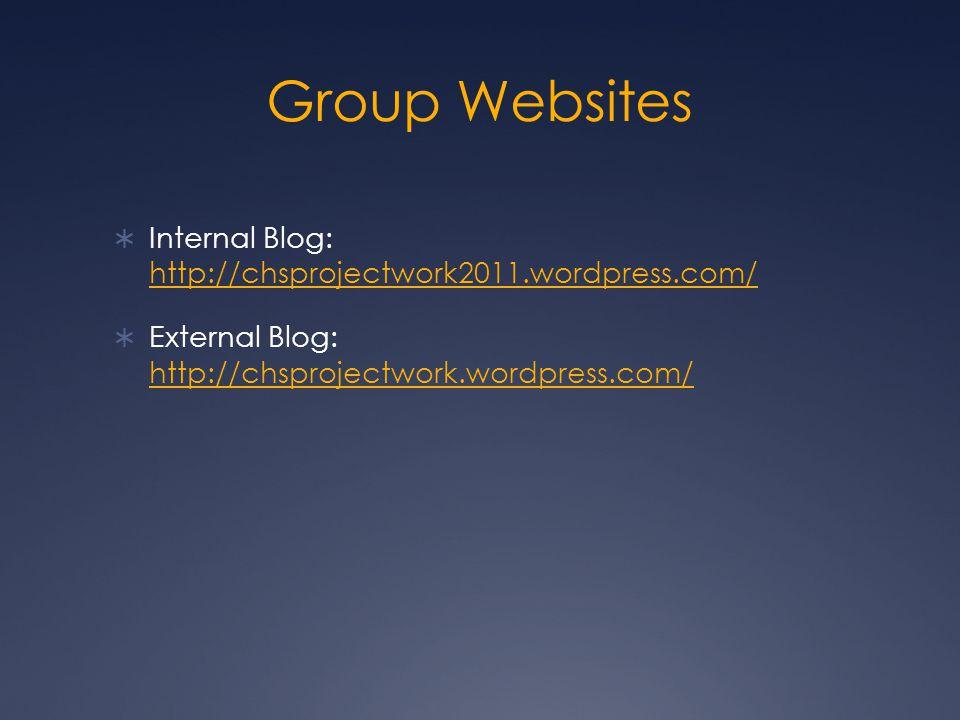 Group Websites  Internal Blog: http://chsprojectwork2011.wordpress.com/ http://chsprojectwork2011.wordpress.com/  External Blog: http://chsprojectwork.wordpress.com/ http://chsprojectwork.wordpress.com/