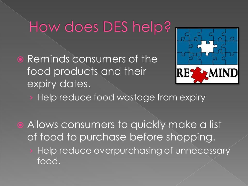  Reminds consumers of the food products and their expiry dates.