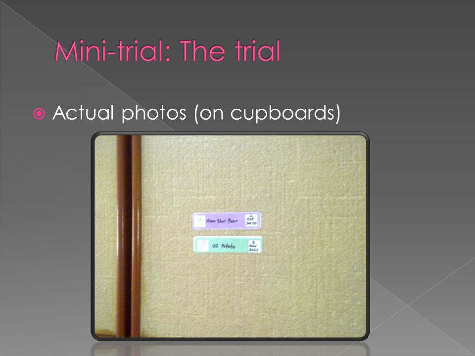  Actual photos (on cupboards)