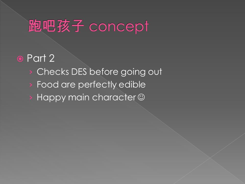  Part 2 › Checks DES before going out › Food are perfectly edible › Happy main character