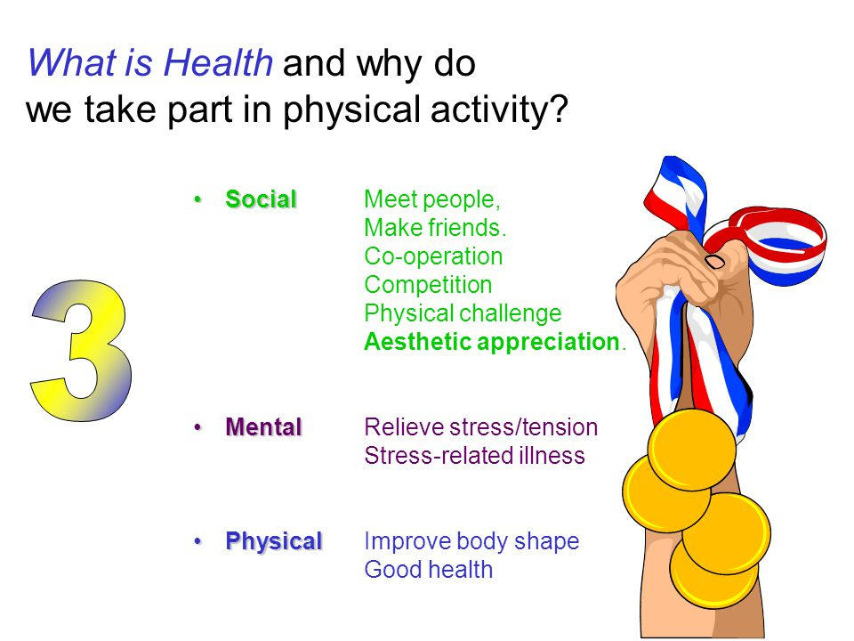 What is Health and why do we take part in physical activity? SocialSocialMeet people, Make friends. Co-operation Competition Physical challenge Aesthe