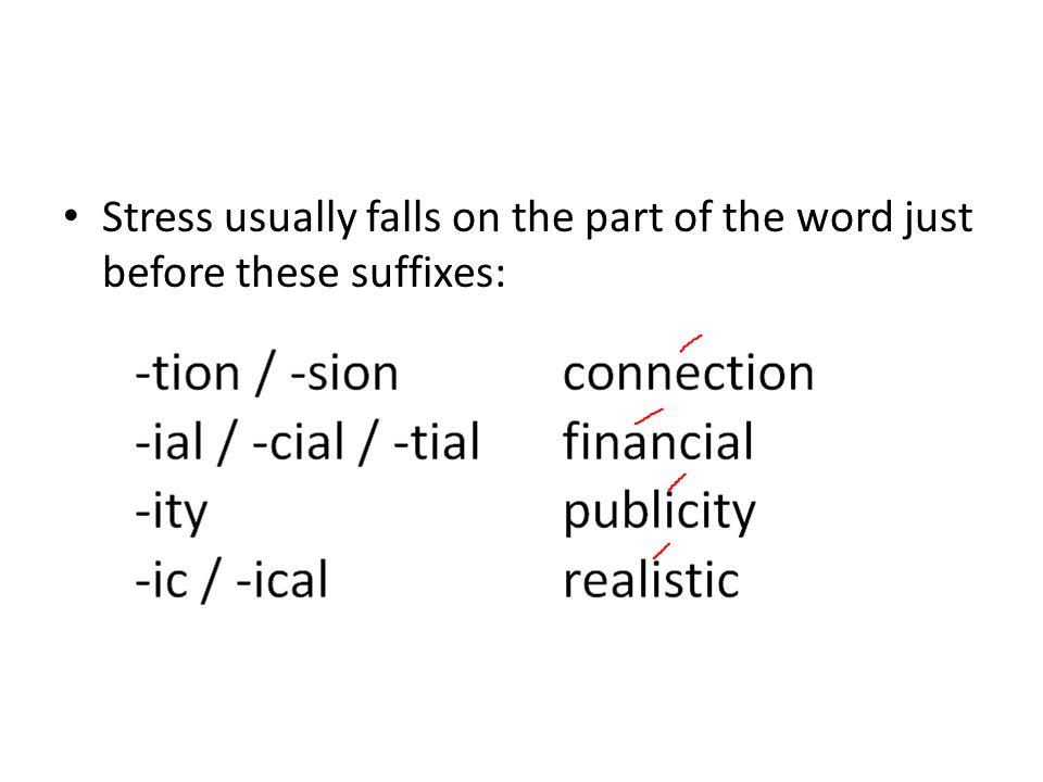Stress usually falls on the part of the word just before these suffixes: