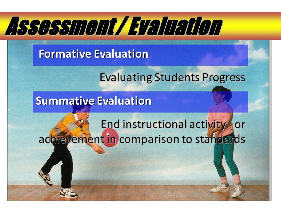 Formative Evaluation Formative Evaluation Evaluating Students Progress Evaluating Students Progress Summative Evaluation End instructional activity or
