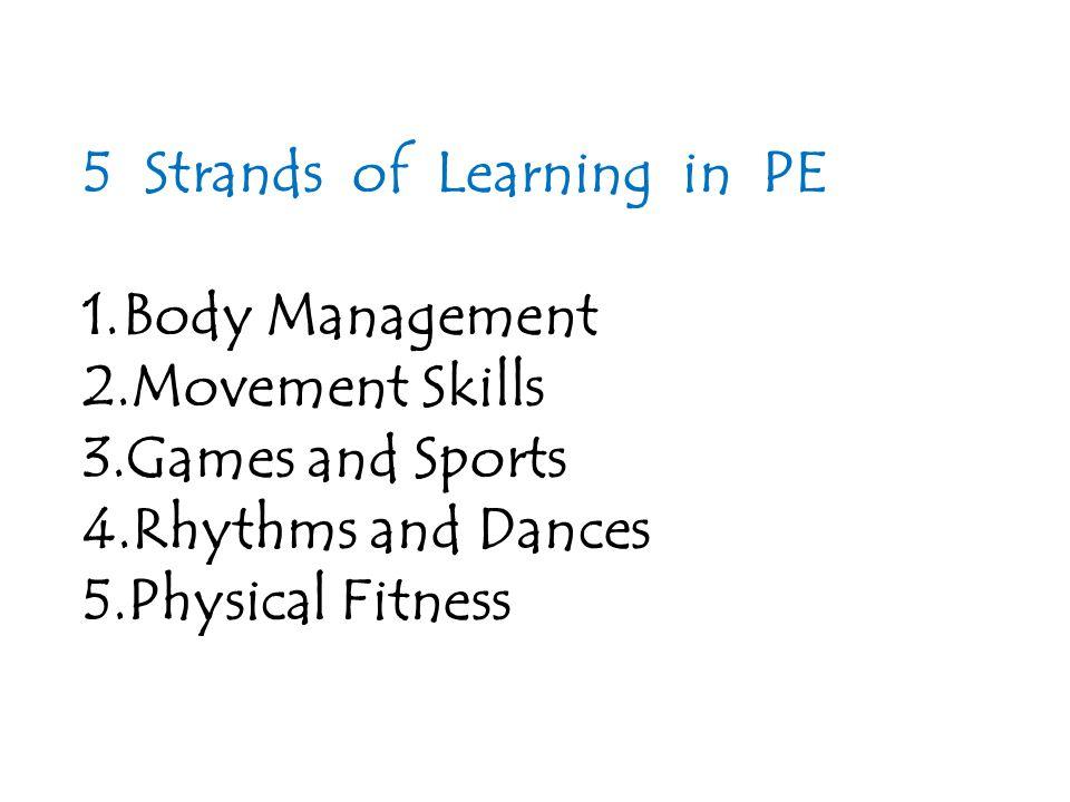 Body Management Body Awareness Space Awareness Movement Qualities Movement Relationships