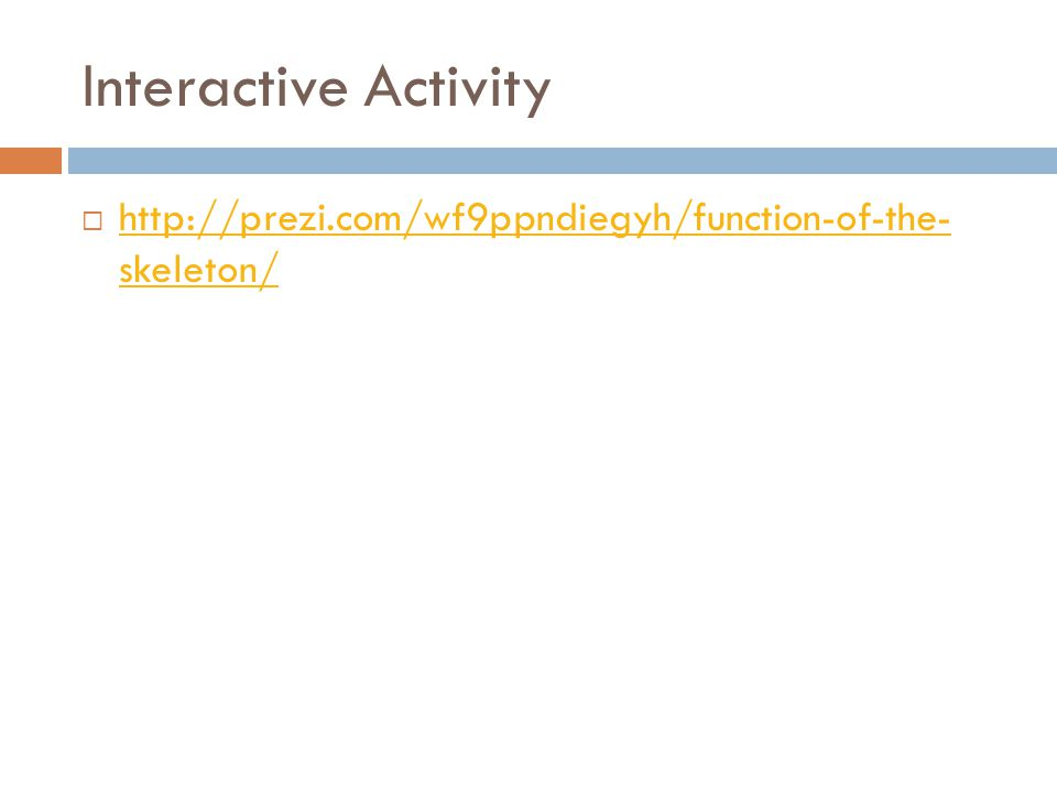 Interactive Activity  http://prezi.com/wf9ppndiegyh/function-of-the- skeleton/ http://prezi.com/wf9ppndiegyh/function-of-the- skeleton/