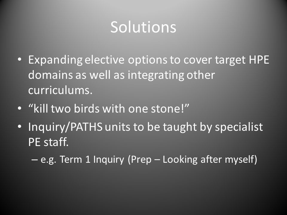 Solutions Expanding elective options to cover target HPE domains as well as integrating other curriculums.