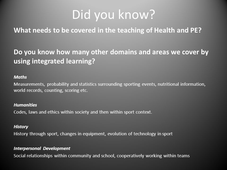 Did you know. What needs to be covered in the teaching of Health and PE.