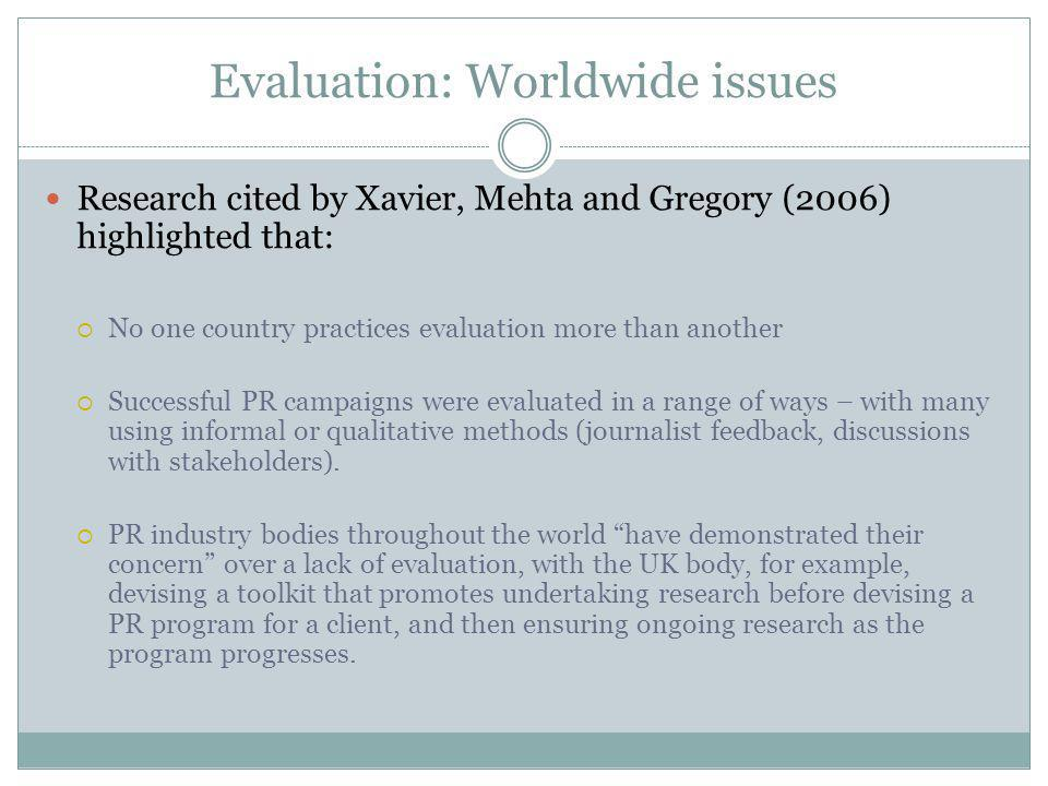 Evaluation: Left by the wayside Evaluation methods are varied and wide-ranging, with Xavier, Mehta and Gregory (2006) noting that this results in practitioners failing to make use of, or even understand, the diverse methods available.