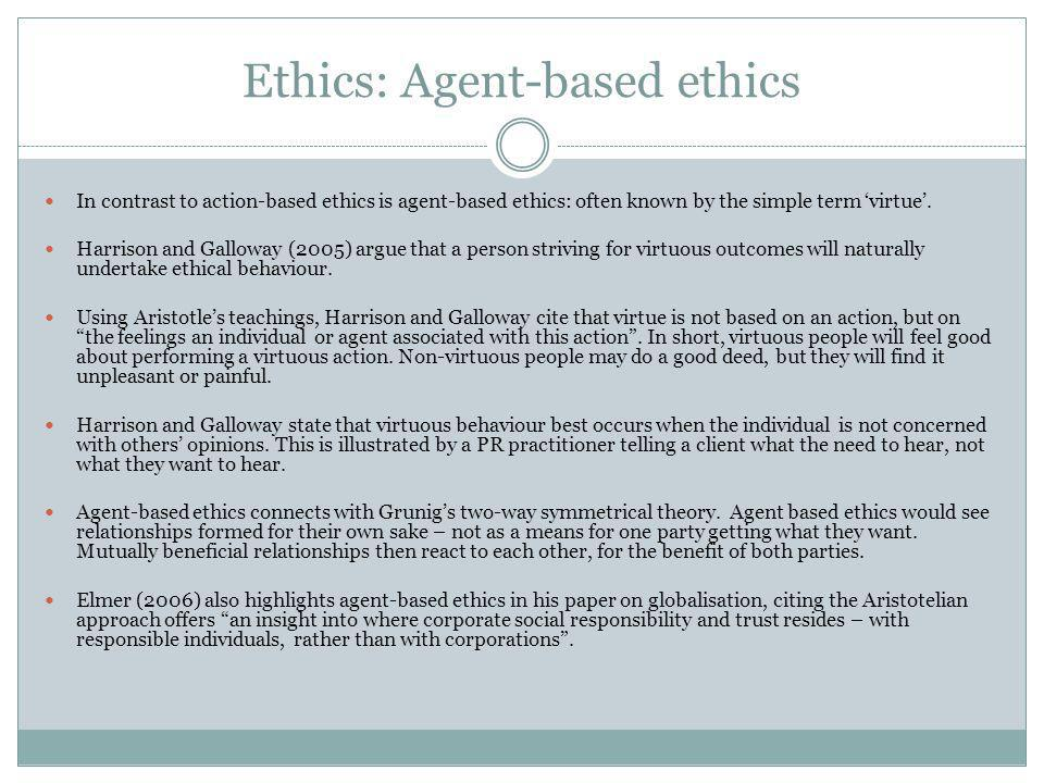 Ethics: Agent-based ethics In contrast to action-based ethics is agent-based ethics: often known by the simple term 'virtue'.
