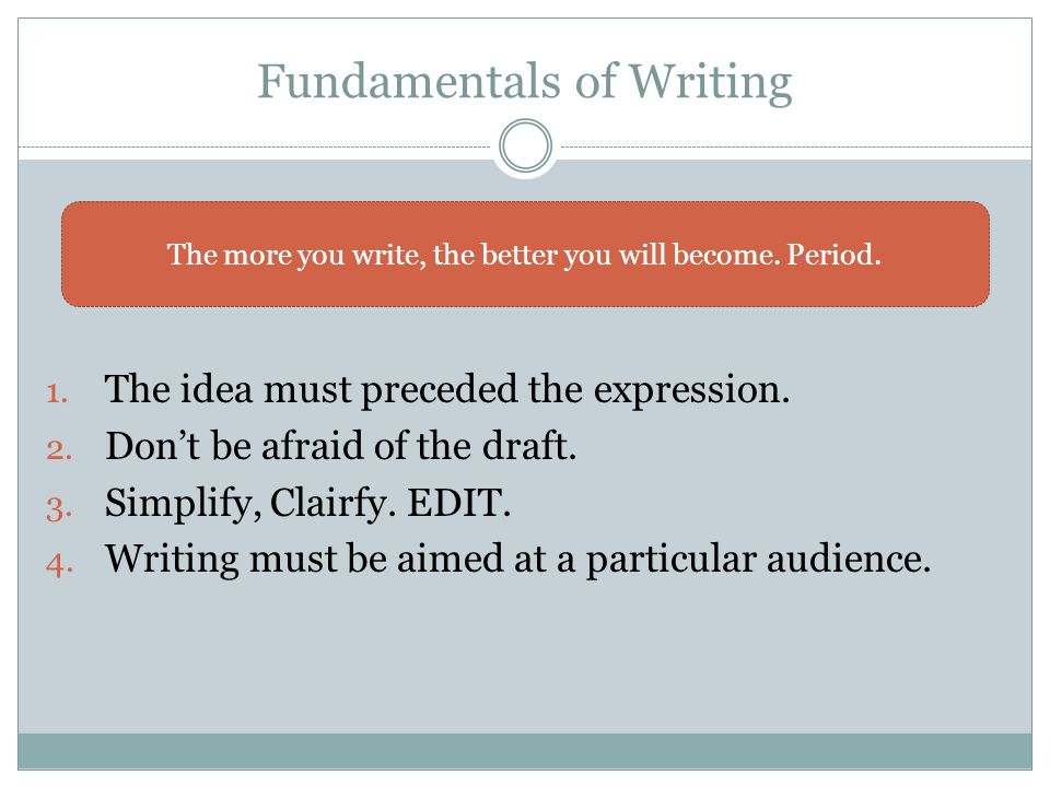 Fundamentals of Writing 1. The idea must preceded the expression.