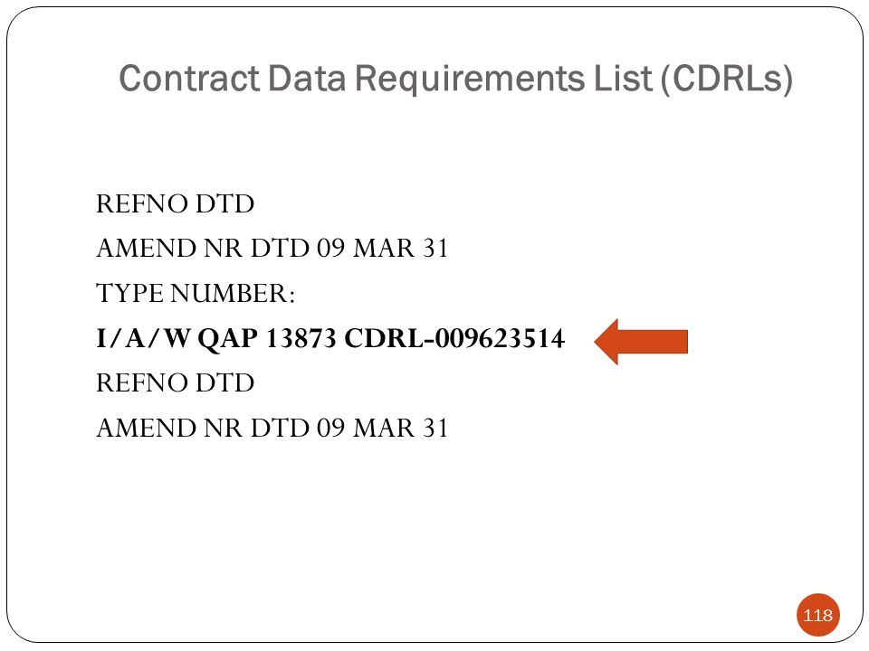 Contract Data Requirements List (CDRLs) REFNO DTD AMEND NR DTD 09 MAR 31 TYPE NUMBER: I/A/W QAP 13873 CDRL-009623514 REFNO DTD AMEND NR DTD 09 MAR 31 118