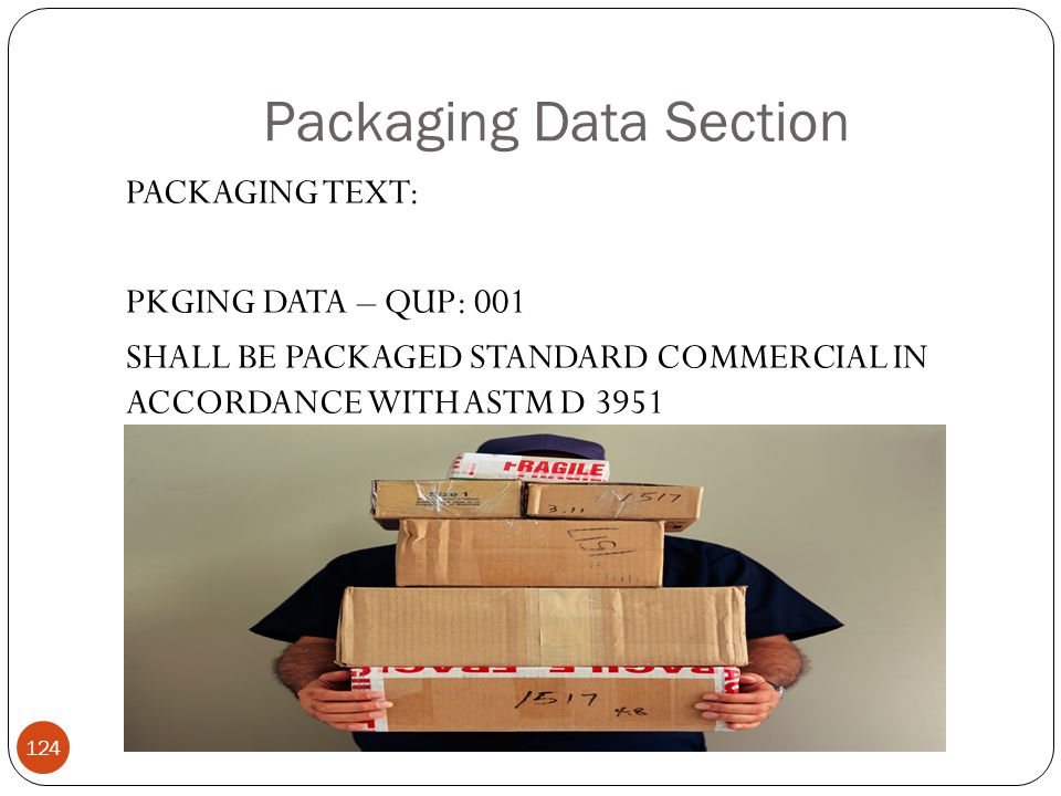 Packaging Data Section PACKAGING TEXT: PKGING DATA – QUP: 001 SHALL BE PACKAGED STANDARD COMMERCIAL IN ACCORDANCE WITH ASTM D 3951 124