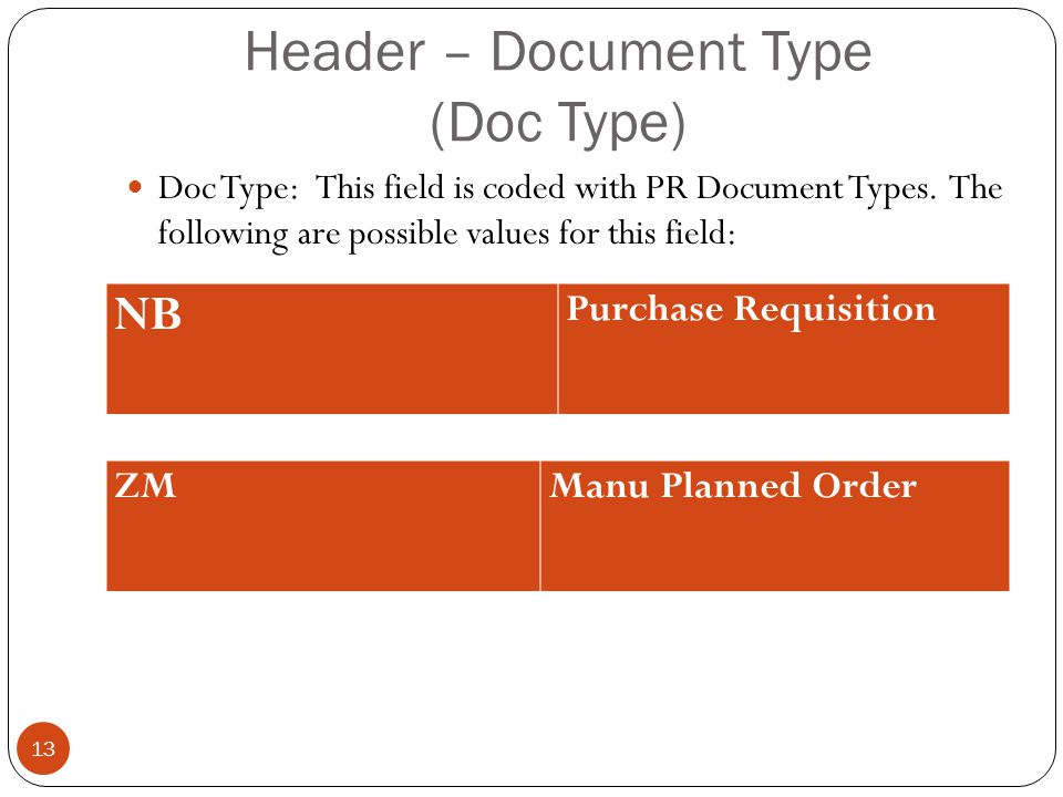 Header – Document Type (Doc Type) Doc Type: This field is coded with PR Document Types.
