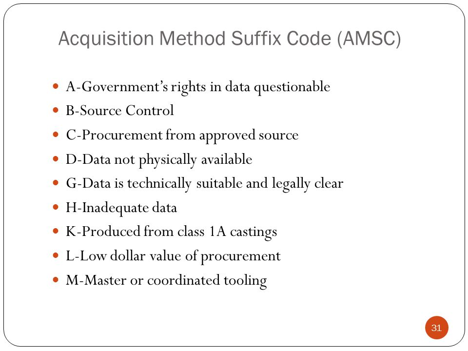 Acquisition Method Suffix Code (AMSC) A-Government's rights in data questionable B-Source Control C-Procurement from approved source D-Data not physically available G-Data is technically suitable and legally clear H-Inadequate data K-Produced from class 1A castings L-Low dollar value of procurement M-Master or coordinated tooling 31