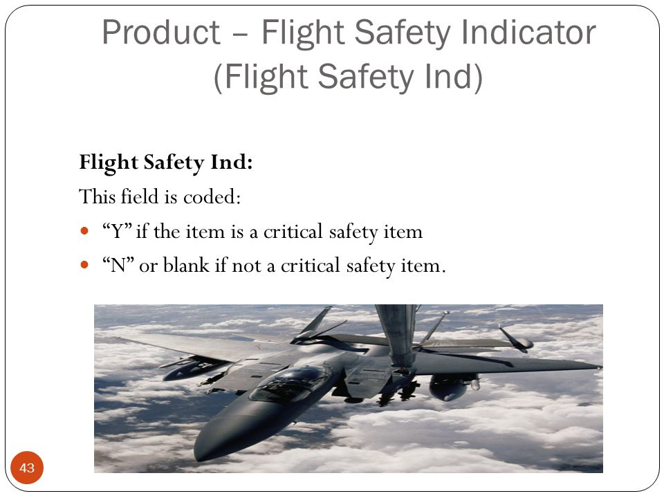Product – Flight Safety Indicator (Flight Safety Ind) Flight Safety Ind: This field is coded: Y if the item is a critical safety item N or blank if not a critical safety item.