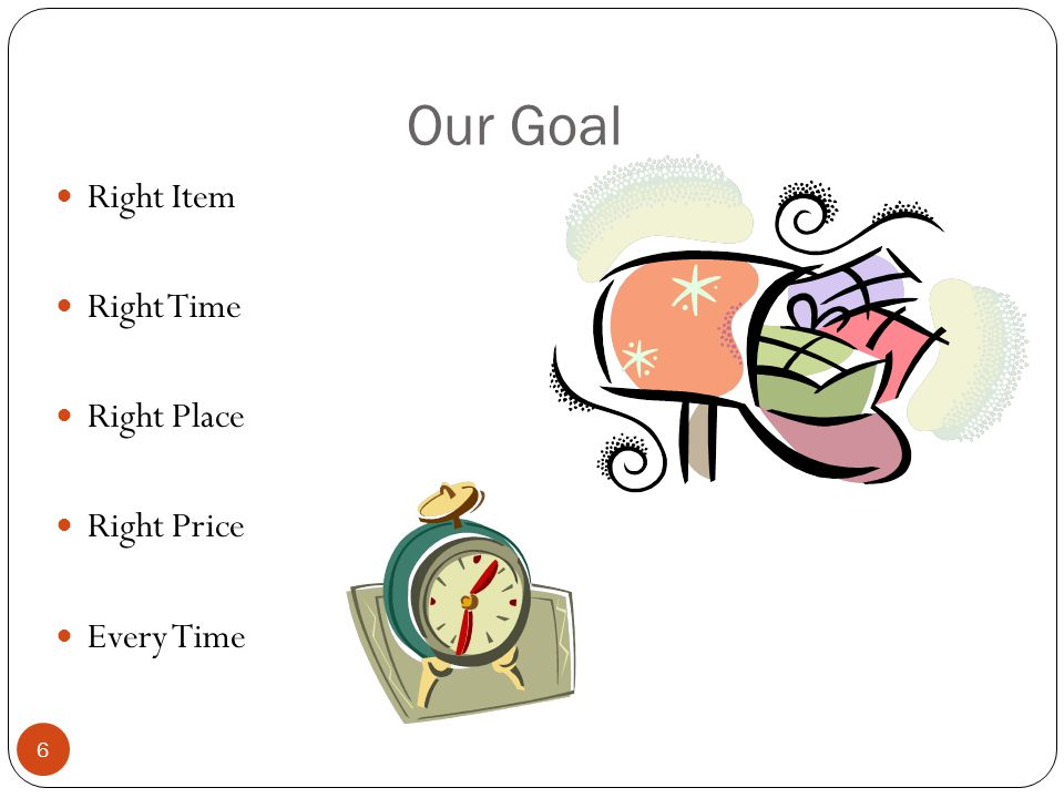 Our Goal Right Item Right Time Right Place Right Price Every Time 6