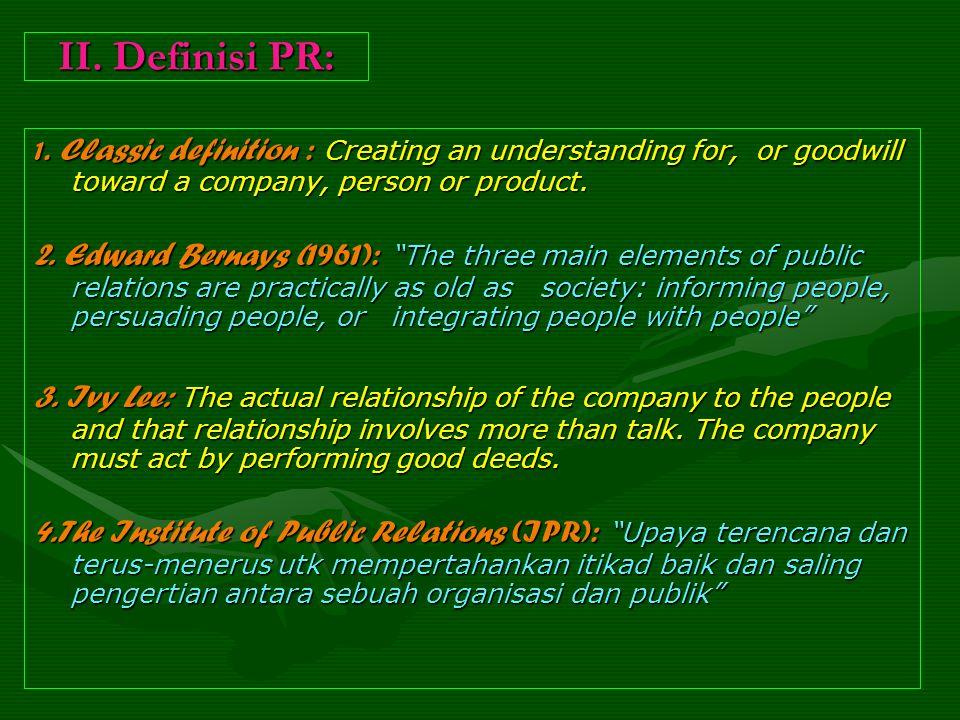 II. Definisi PR: 1.
