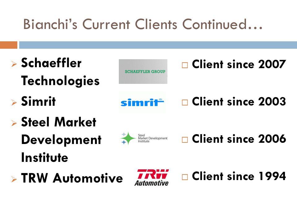 Bianchi's Current Clients Continued…  Schaeffler Technologies  Simrit  Steel Market Development Institute  TRW Automotive  Client since 2007  Cl