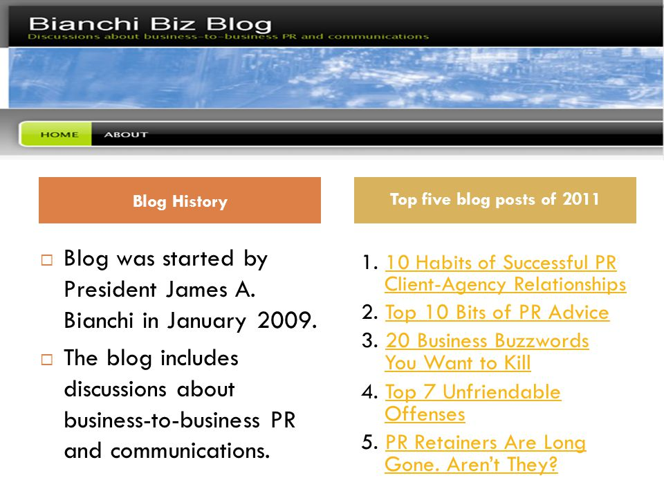 Bianchi Biz Blog *  Blog was started by President James A.