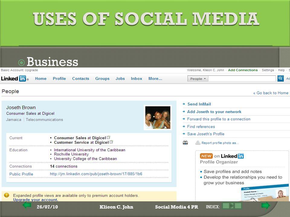 26/07/10Klieon C. JohnSocial Media 4 PR INDEX:  Business