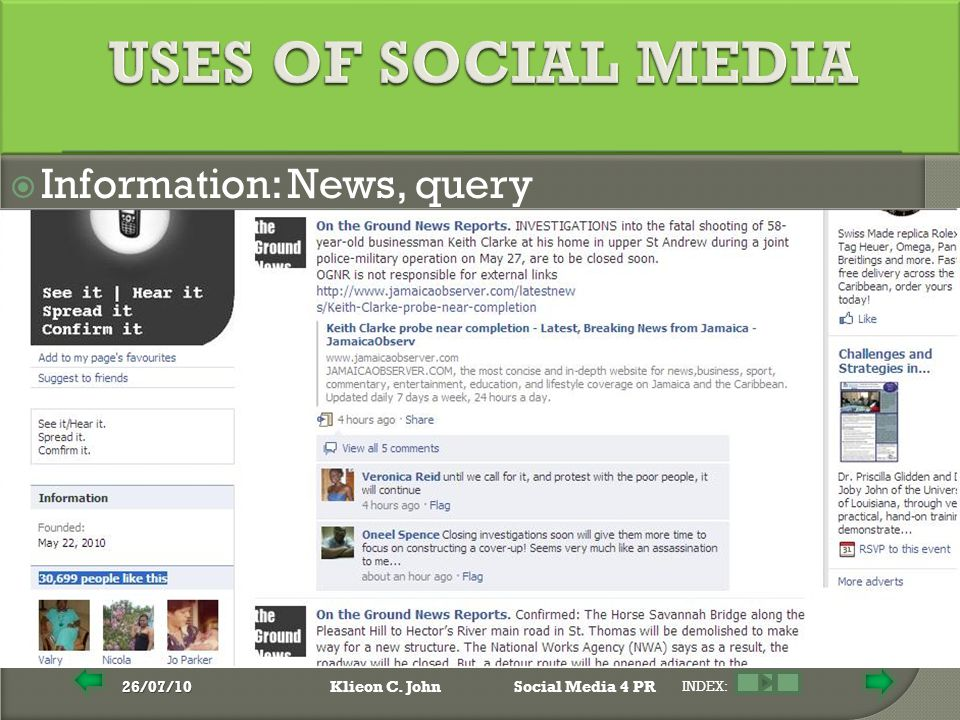 26/07/10Klieon C. JohnSocial Media 4 PR INDEX:  Information: News, query