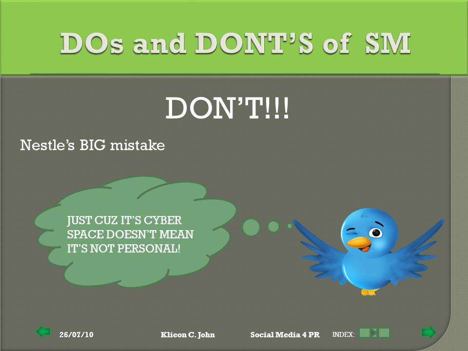 26/07/10Klieon C.JohnSocial Media 4 PR INDEX: DON'T!!.
