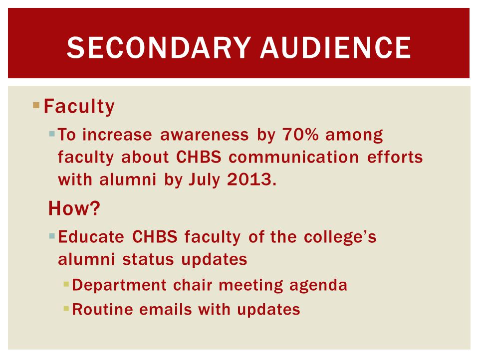  Faculty  To increase awareness by 70% among faculty about CHBS communication efforts with alumni by July 2013.