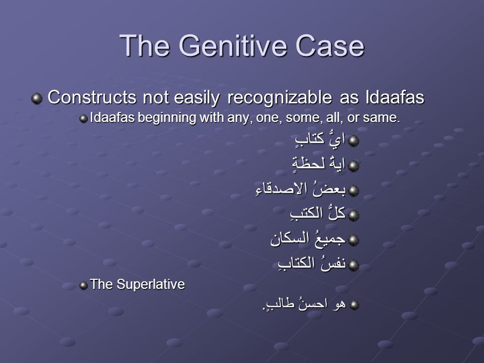 The Genitive Case Constructs not easily recognizable as Idaafas Idaafas beginning with any, one, some, all, or same.