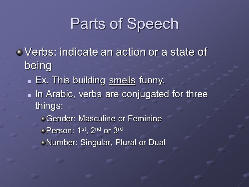 Parts of Speech Person indicates who the action of the verb refers to.