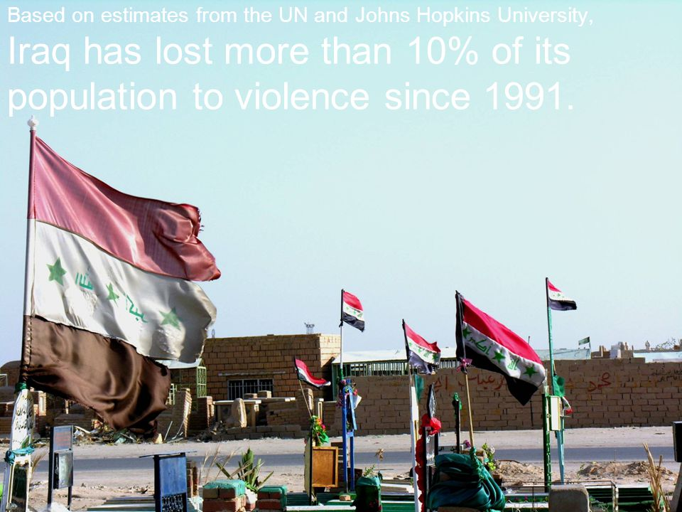Based on estimates from the UN and Johns Hopkins University, Iraq has lost more than 10% of its population to violence since 1991.