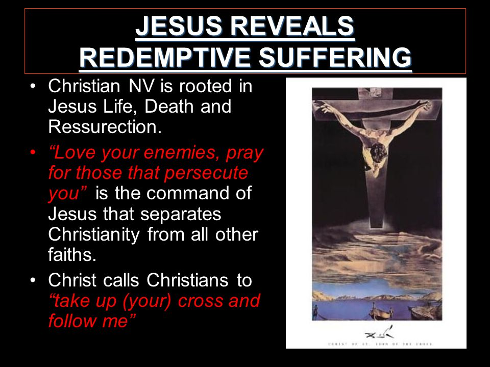 JESUS REVEALS REDEMPTIVE SUFFERING Christian NV is rooted in Jesus Life, Death and Ressurection.