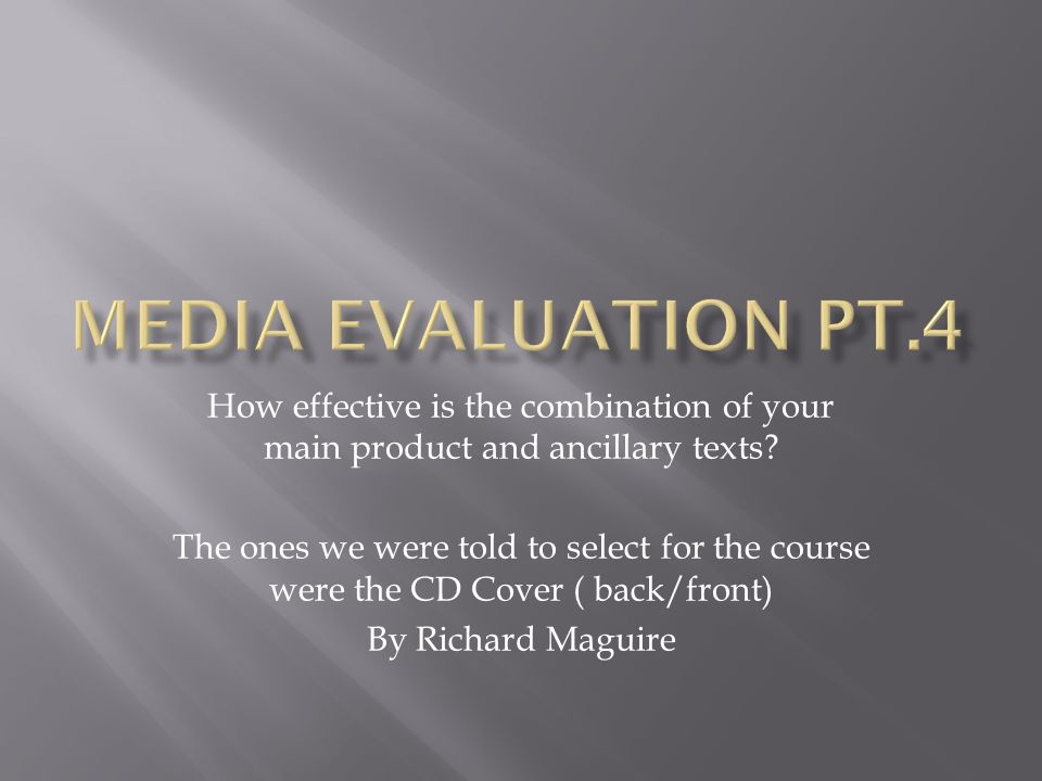 How effective is the combination of your main product and ancillary texts? The ones we were told to select for the course were the CD Cover ( back/fro