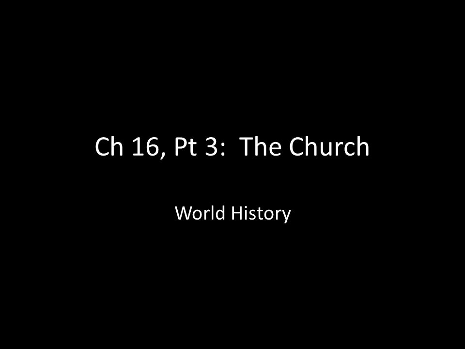 Ch 16, Pt 3: The Church World History