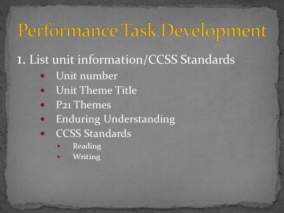 1. List unit information/CCSS Standards Unit number Unit Theme Title P21 Themes Enduring Understanding CCSS Standards Reading Writing