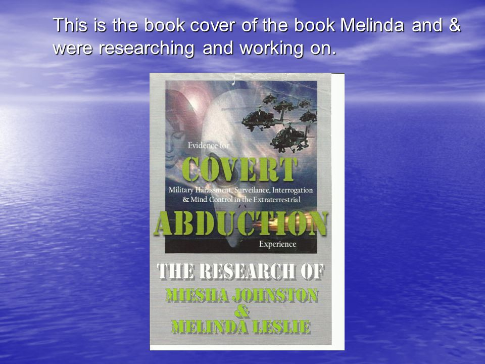 This is the book cover of the book Melinda and & were researching and working on.