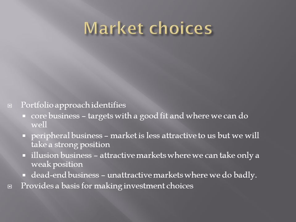  Portfolio approach identifies  core business – targets with a good fit and where we can do well  peripheral business – market is less attractive to us but we will take a strong position  illusion business – attractive markets where we can take only a weak position  dead-end business – unattractive markets where we do badly.