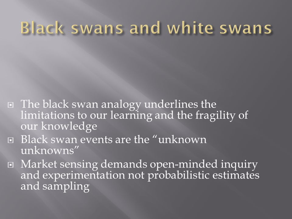  The black swan analogy underlines the limitations to our learning and the fragility of our knowledge  Black swan events are the unknown unknowns  Market sensing demands open-minded inquiry and experimentation not probabilistic estimates and sampling