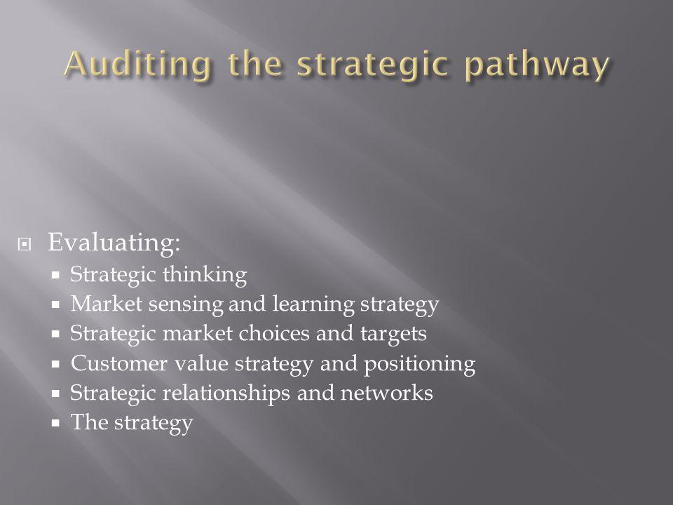  Evaluating:  Strategic thinking  Market sensing and learning strategy  Strategic market choices and targets  Customer value strategy and positioning  Strategic relationships and networks  The strategy