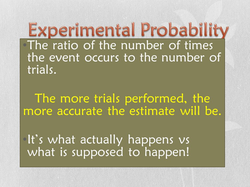 The ratio of the number of times the event occurs to the number of trials.
