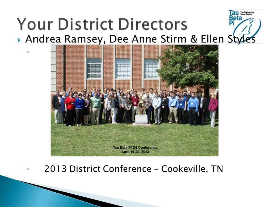  Andrea Ramsey, Dee Anne Stirm & Ellen Styles ◦ ◦ 2013 District Conference – Cookeville, TN