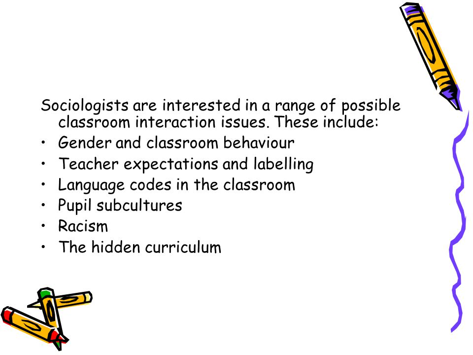 Sociologists are interested in a range of possible classroom interaction issues.